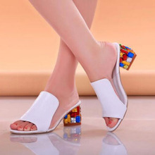 купить Classic Style Women Fashion Solid Candy Color Square Heels Shoes Sandals,Peep Toe Slip-on Leather Shallow Platform Sandals по цене 1616.9 рублей