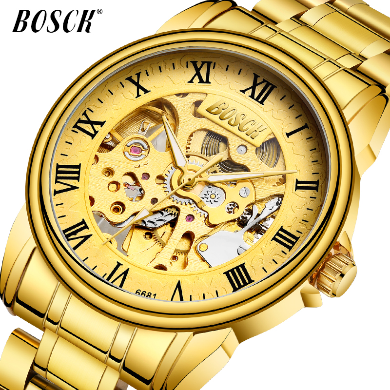 BOSCK 2018 gold watches Men luxury top brand stainless steel fashion skeleton automatic mechanical watches relogio masculino carnival 2017 gold watches men luxury top brand stainless steel fashion skeleton automatic mechanical watches relogio masculino