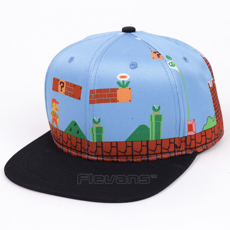 Fashion Brand Men Women Super Mario Bros Baseball Snapback Caps Summer Cotton Hats Hip Hop Cap Hat 2 Styles new fashion floral adjustable women cowboy denim baseball cap jean summer hat female adult girls hip hop caps snapback bone hats