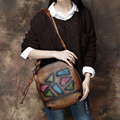 2017 Women Handbag Genuine Leather Vintage Shoulder Messenger Bag Handmade Cow Leather Bags Women Geometric