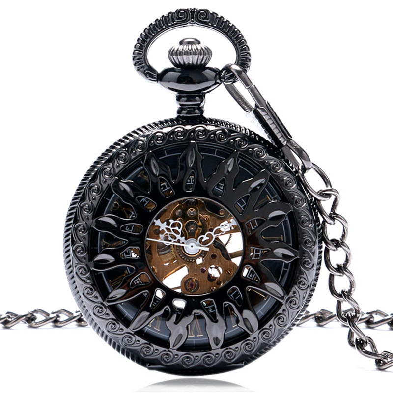 Cool Black Hollow Sun Flower Case Design Roman Number Skeleton Mechanical Fob Pocket Watch With Chain Gift For Men Women