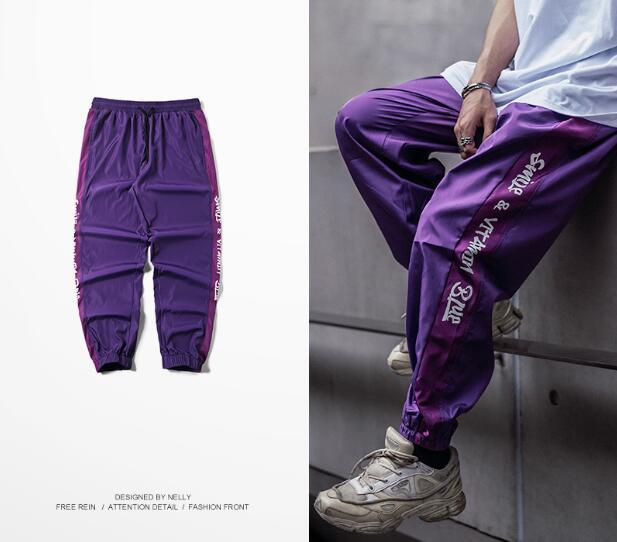 2018 Sweetown Harajuku Hip Hop Pantalon Cargo Hommes Sweatswear Pantalon Impression Côté Bande Poches Hommes Vintage pantalons de Survêtement