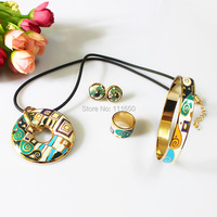 Clearance 4pcs Set Rose Gold Plated Colorful Special Symble Design Enamel Jewelry Set Necklace Earring Ring