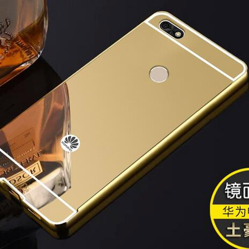 P9 Lite Mini HQ Aluminum Metal Frame+ Acrylic Mirror Back Cover Case For Huawei Y6 Pro 2017 Phone Cases For Huawei P9 Lite Mini