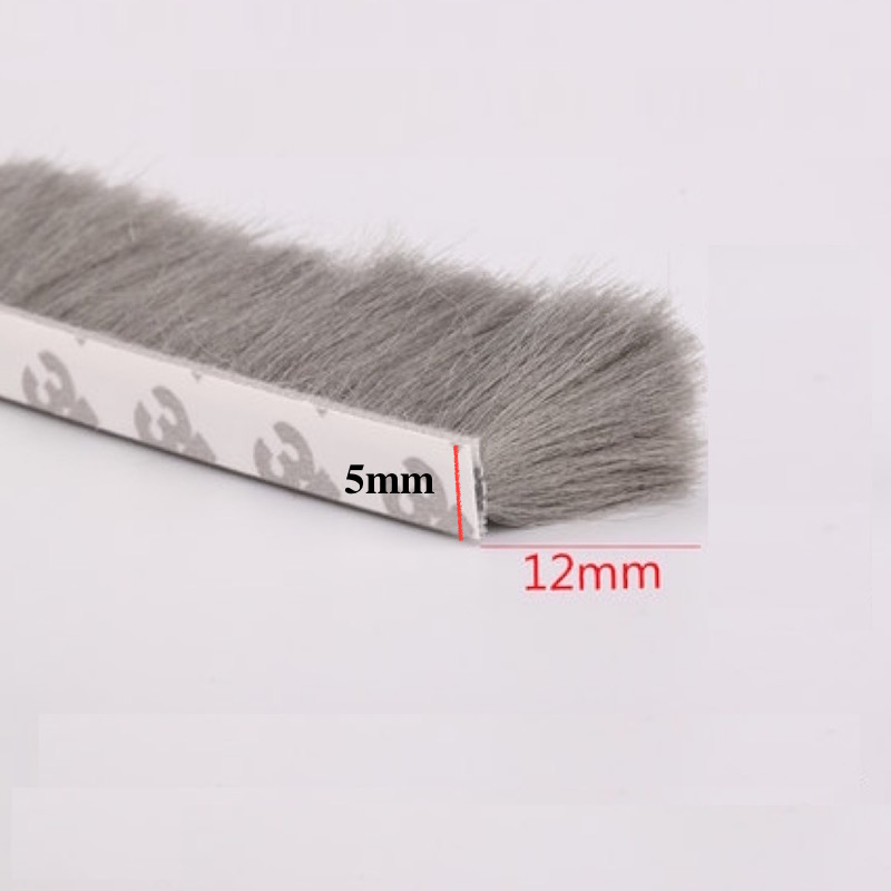 Self Adhesive Sealing Strip Felt Draught Excluder Wool Pile Seals Weatherstrip Door Window Brush Seal 5x12mm 5m 10m Gray