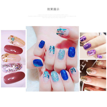 48pcs/set nail art decoration in glass bottle Flash Pink sequines hexagonal glitter nail sticker DIY 3D nail art flakes MZ070 4