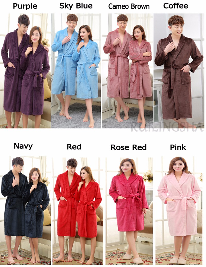 Coral Fleece Robes Color Chart