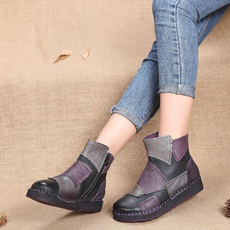 Mujer Mujeres Hecho A Las Primavera 2019 Tobillo Pisos Moda purple Botas Vintage Estilo De Stylesowner Mano Brown Cuero Zapatos Literario Genuino fT1wq858