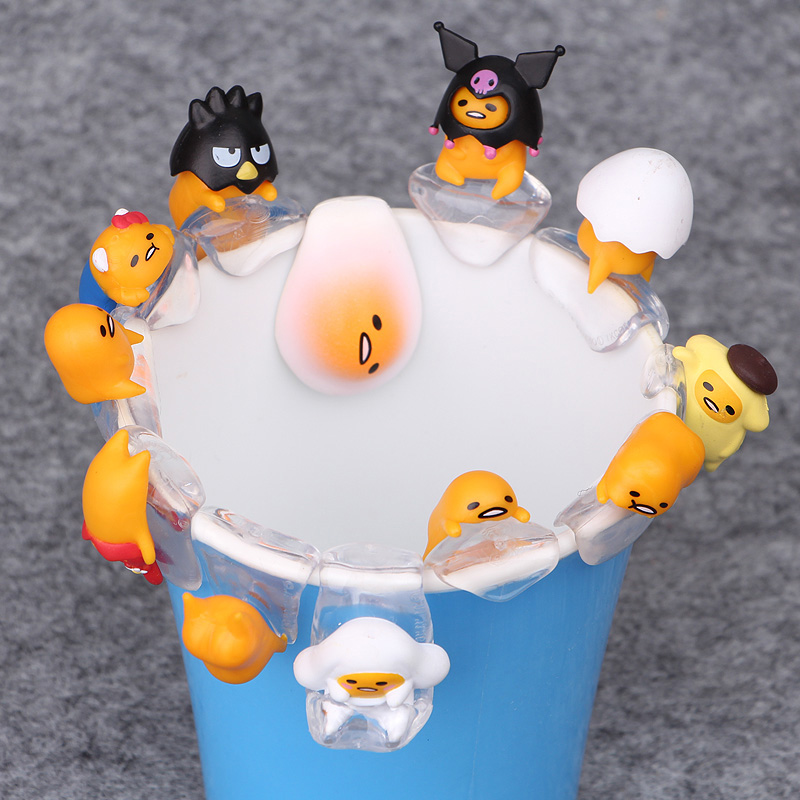12PCS/SET Gudetama Egg Putitto Series <font><b>Cup</b></font> Cute PVC Action Figure Doll Collection Model Toy Doll Gifts Cosplay