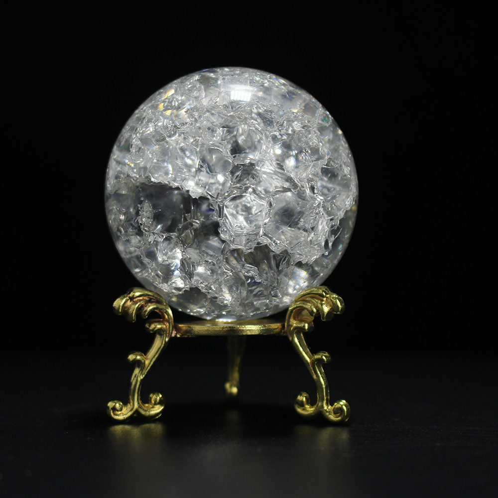 60/80MM Cracked Ice Crystal Decorative Ball With Base Glass Ball Crafts Home Decoration