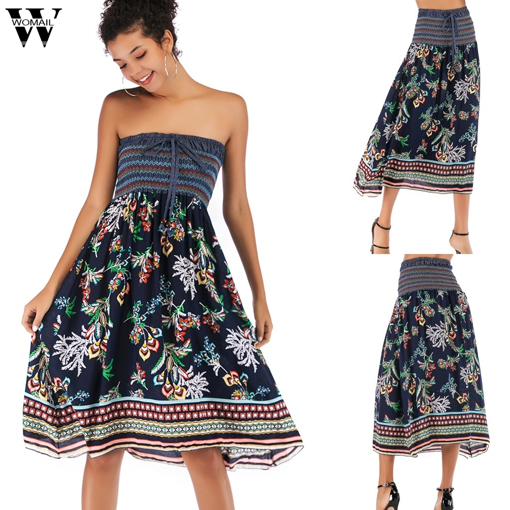 Womail Skirt Women Summer Beach Boho Floral Printed Wear Both Tube Swing Skirt Fashion skirts for women NEW 2020 dropship M27
