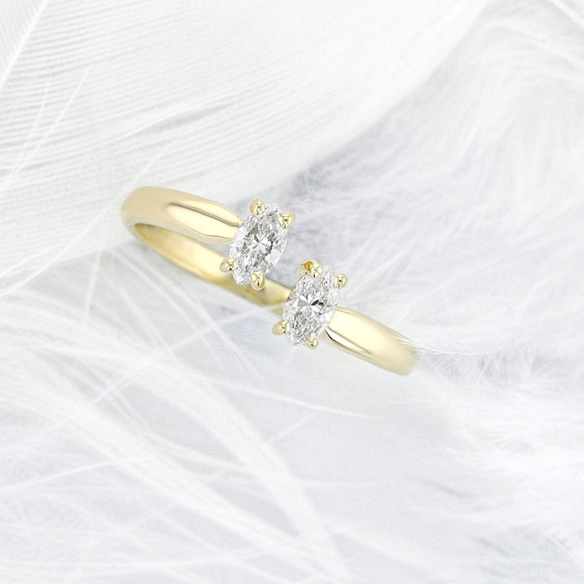 0.66CTW 3x5mm Marquis Cut Moissanite Ring 14K Solid Yellow Gold,Moissanite 2 Stones Style Engagement Ring,Fantacy Wedding Band