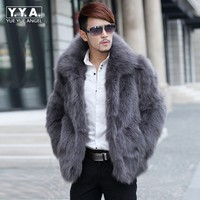 High Quality Mens Faux Fox Fur Coat Business Man Overcoat Lapel Collar Long Sleeve Loose Fit Outwear Coat Large Size 6XL Jackets