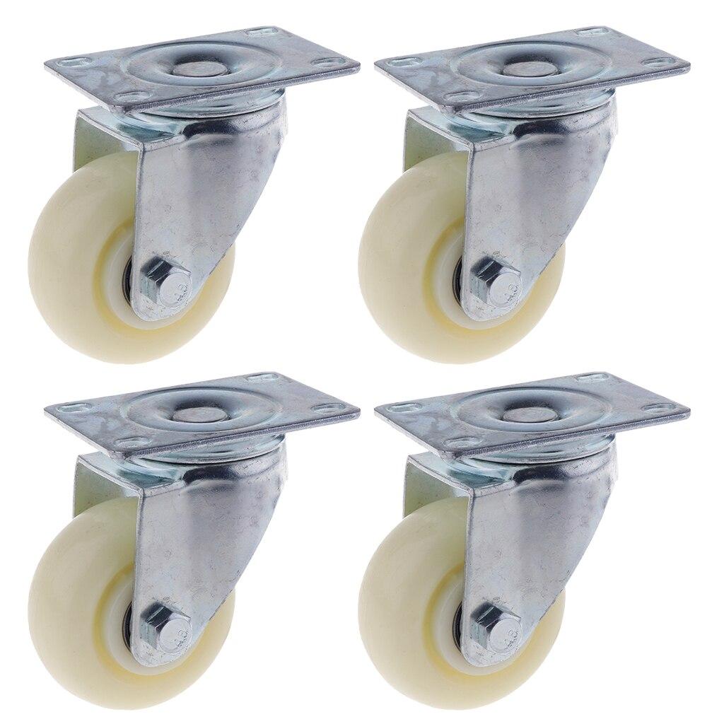 4PCS Pack 3'' White PP Swivel Plate Caster Wheels 90kg 200lbs Wearproof