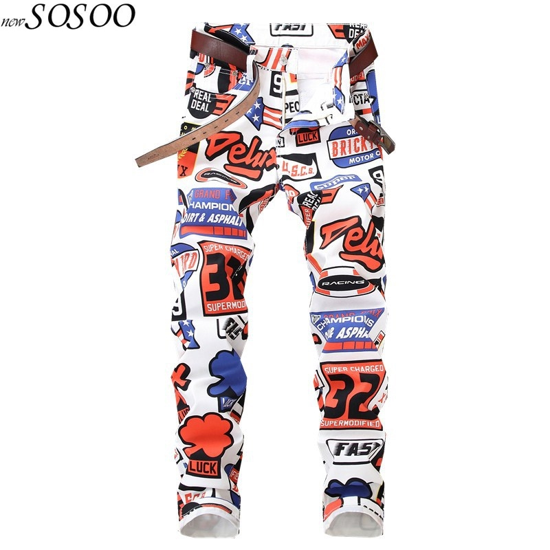 2018 new jeans men imprimer Color printing design stretch jeans Soft Comfortable European and American style jeans men #5615-in Jeans from Men's Clothing