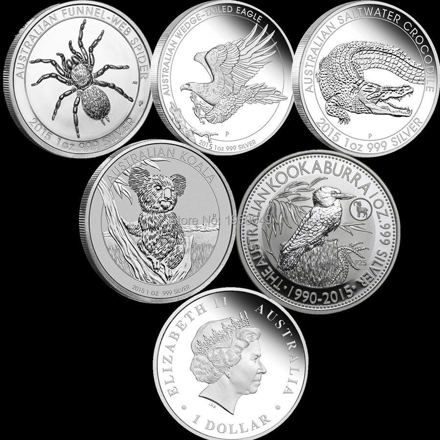 Free shipping 15pcs lot Mix 2015 Australian 1Oz Silver Coin Spider Crocodile Koala Kookaburra Wedge Tail