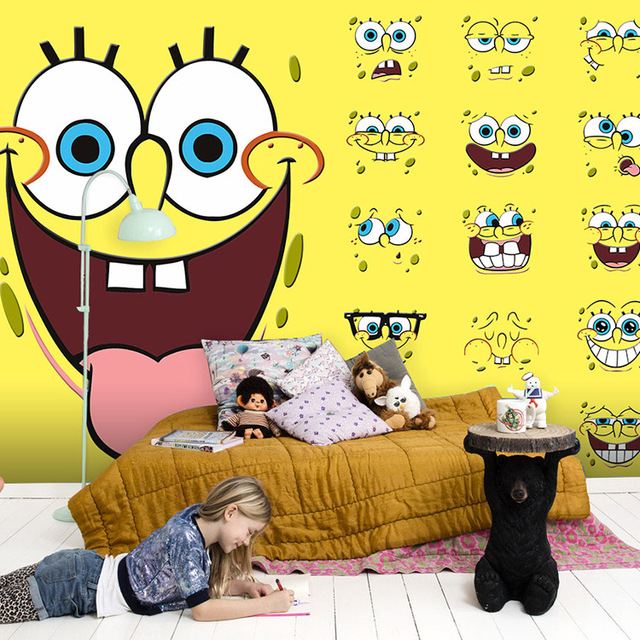 Free Shipping Lovely SpongeBob SquarePants Cartoon Large Mural Nursery  Childrenu0027s Room Bedroom Wallpaper Mural