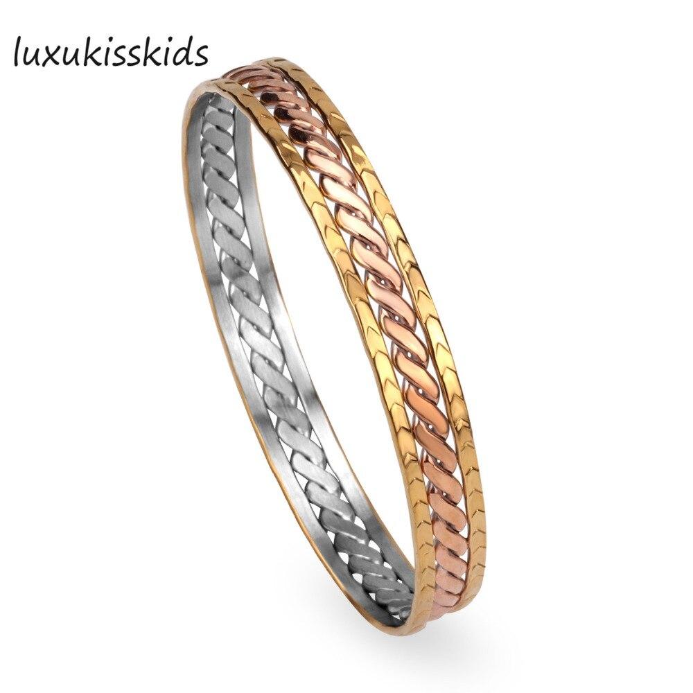 LUXUKISSKIDS Нержавеющаясталь Vacuum покрытие золото и розовое золото Браслеты, классический Стиль в Модные украшения