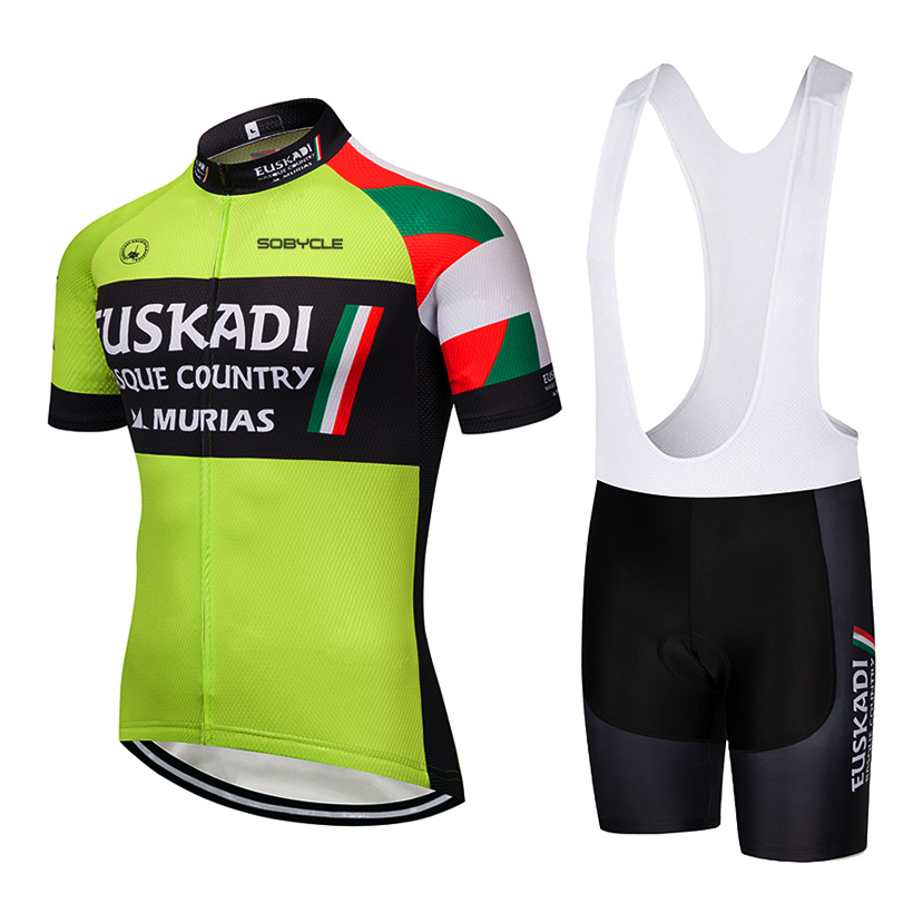 2019 Green euskadi team Summer Pro sporting Racing UCI world tour cycling jersey 9D Bike shorts set ropa ciclismo bicycle wear цена