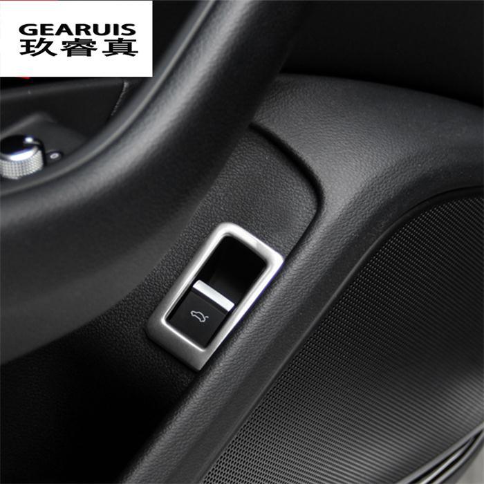 Автомобильный Стайлинг, задний багажник, кнопка управления, декоративная рамка, синий, черный, нержавеющая сталь, наклейка для новой Audi A4 B9 - Название цвета: Silver