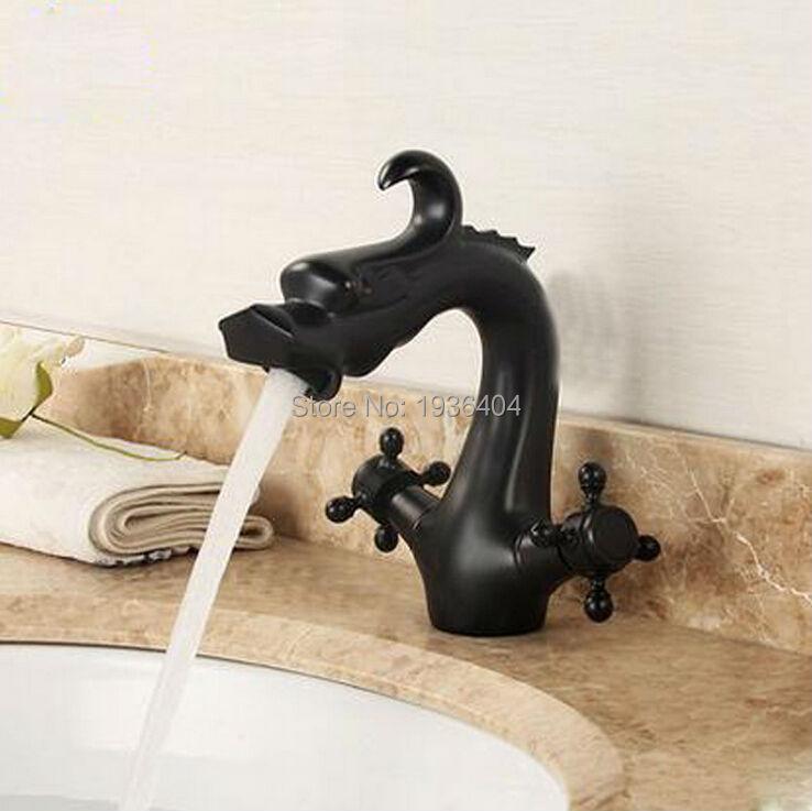 Robinet Dragon Style Vintage rétro noir fini antique mélangeur robinets pont monté chaud et froid bassin mélangeur B3246