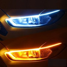 2Pcs Auto led daily light running water steering ultra-thin guide strip streamer mercedes crystal tear-eyemotive
