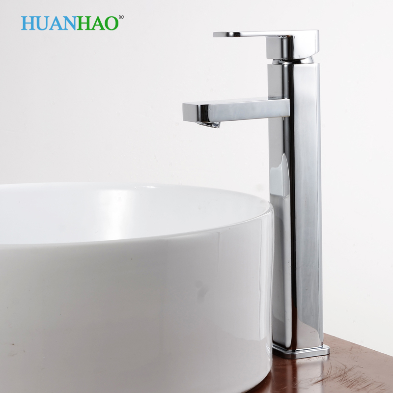 Single Handle Contemporary Bathroom Lavatory Vanity Vessel Sink Faucet, Tall Chrome shiweibao a1165 casual oversized dial quartz watch for men