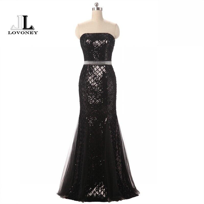 Lovoney Elegant Mermaid Strapless Long Evening Dress Formal Dress