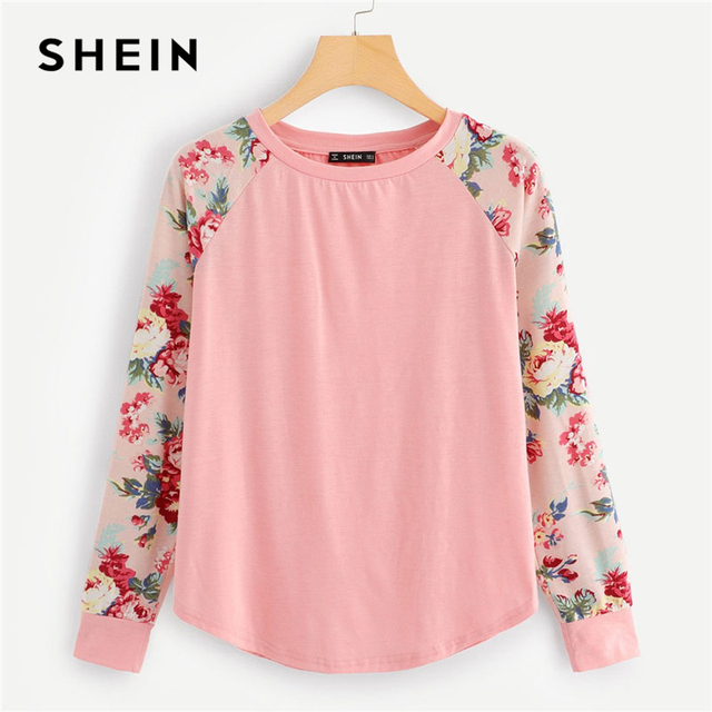 7222d6c4 SHEIN Pink Floral Raglan Sleeve Curved Hem Top Casual Long Sleeve Round  Neck T-shirts Women Autumn Minimalist Tee Shirts