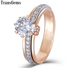 Transgems 18K Two Tones White and Rose Gold Moissanite Engagement Ring for Women 6.5mm Unique Octagonal Cut Rotatable Design