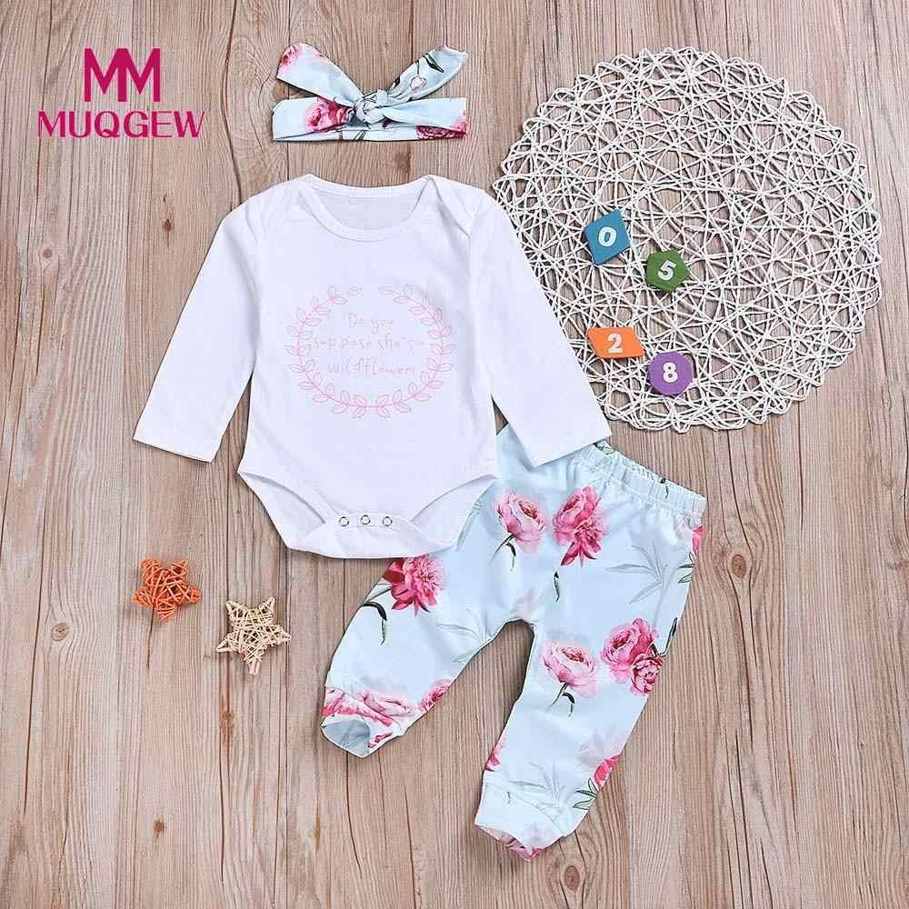 a77832f723ae MUQGEW Baby Girls Clothes Set Newborn Baby Long Sleeve Romper Top Print Pants  Headband 3Pcs Outfit