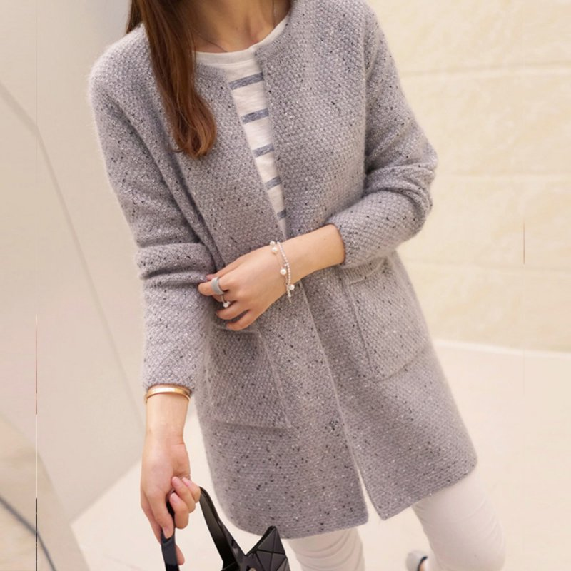 New Sweet Solid Color Winter Women Long Sleeve Knitted Sweater Cardigan Collarless Knitted Overcoat