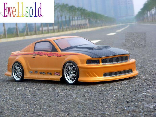 Ewellsold 1/10 radio control car  1:10 rc car Body Shell for 1/10 RC car 200mm No:043 yellow 2pcs/lot free shipping