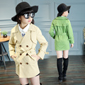 2017 spring and autumn fashion classic children's long coat girls 4-13 year-old double-breasted coat belt belt