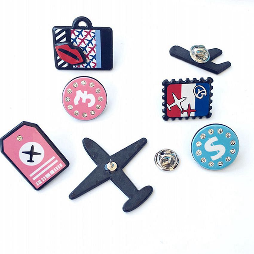 New Fashion Airplane Collar Multi-designs Brooch Pins Women Gift Men Jewelry Aircraft Cartoon Plane Badge Accessories image