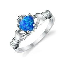 2017 Женщин Claddagh кольца Голубого опала 5А Циркон камень Стерлингового Серебра 925 Обручальное Кольцо Обручальное Кольцо для женщин ювелирные изделия
