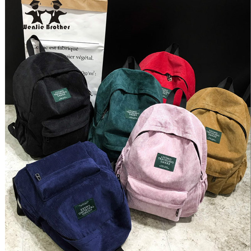 wenjie brother new arrival Autumn and winter corduroy backpack female college