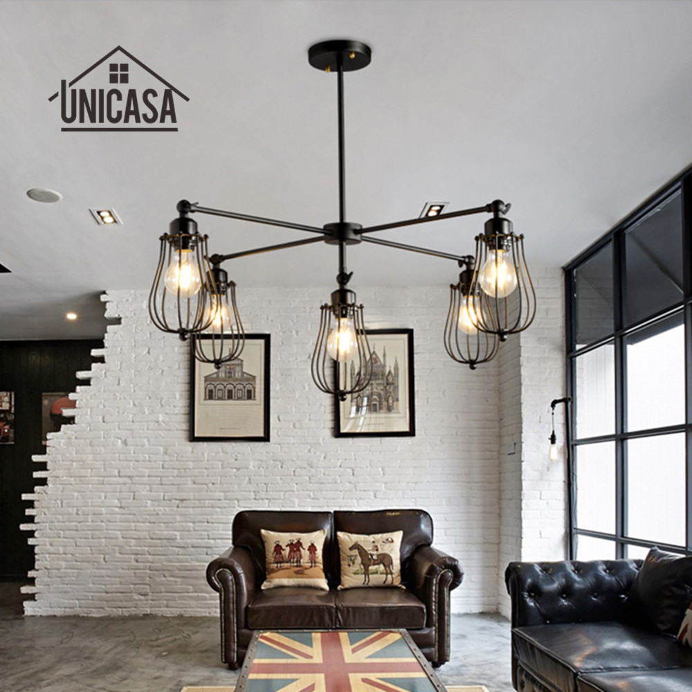 где купить Wrought Iron Pendant Lights Vintage Industrial Lighting Office Hotel Kitchen Island LED Light Black Antique Pendant Ceiling Lamp по лучшей цене