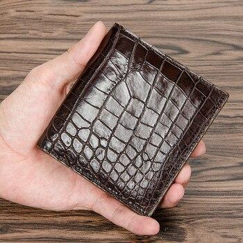 2019 Klasik Tasarımcı Egzotik Gerçek Timsah Derisi Timsah Deri erkek Siyah kartlıklı cüzdan Erkek Büyük Debriyaj Çanta