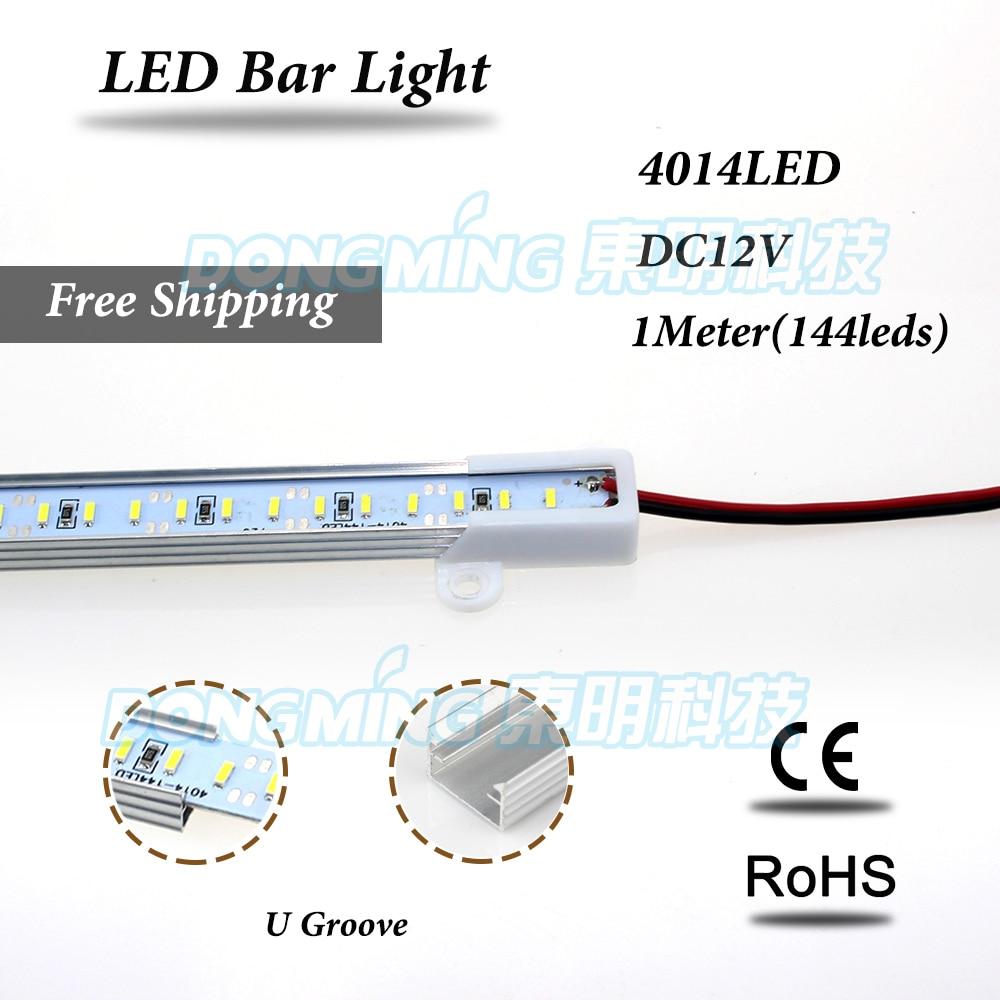 LED luces strip 1m 144 leds 4014 LED bar light 12V with Aluminium U/V profile kitchen jewelry showcase light cold white