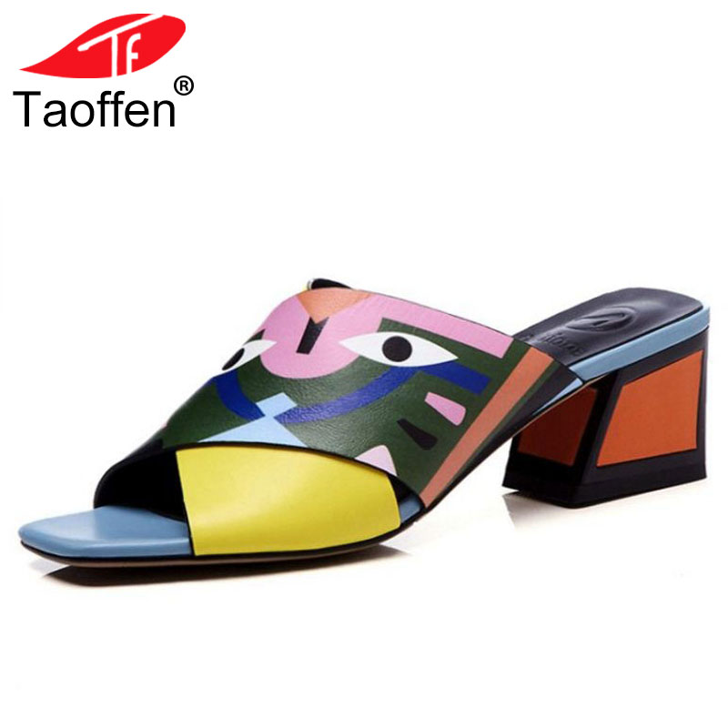 TAOFFEN Women Sandals High Heels New Prints Summer Fashion Gladiator Genuine Leather Sandals Platform Shoes Woman Casual Slipper donna in 2018 women genuine leather slipper platform high heels sandals ladies shoes thick heel casual slippers fashion styles
