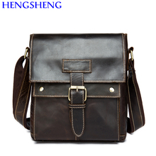 Hengsheng hot selling genuine leather men bag of coffee men shoulder bags with quality cow leather men bag for men business bags