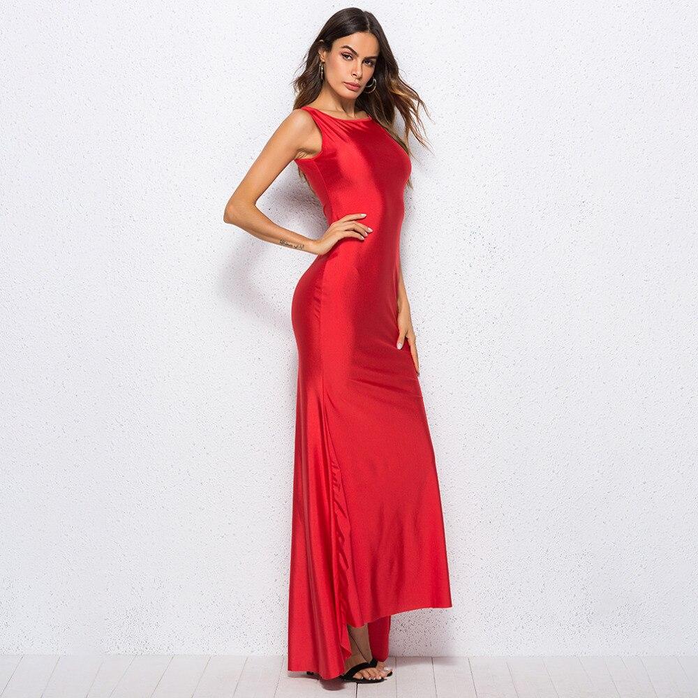 Элегантное Атласное длинное платье для женщин Вечернее Летнее облегающее платье без рукавов вечерние сексуальные красные макси платья ...