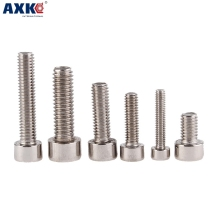 цена AXK 10pcs 201 stainless steel cylindrical hexagon socket screw GB70/DIN912 cup head screw M8*10mm-100mm