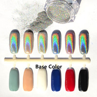 1g Box Shiny Laser Holographic Nail Powder Holo Nail Glitter Dust Rainbow Chrome Pigment Manicure Pigments