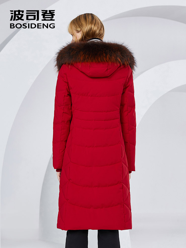 BOSIDENG x long abrigo de invierno para mujer chaqueta de plumón 90% plumón de pato thicken outwear Piel de mapache piel natural impermeable B80141046-in Plumíferos from Ropa de mujer    3