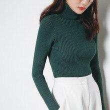 цена на Women's Autumn Winter Knitting Sweaters Fashion Green Turtle Neck Sheath Slim Sweater High Neck Long Sleeve Elegant Pullovers