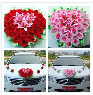 Car decoration flower names flisol home free shipping new red pink married celebrate supplies furnished car floats decorated wedding decoration flowers in junglespirit Image collections