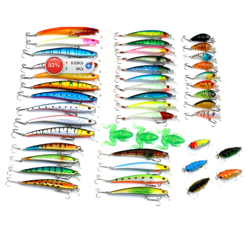 45 Pcs/Pack Mixed 6 Style Fishing Lures Set Minnow/ Crankbait /Soft Frog / Cicada Insect Lure Artificial Bait Fishing Tackle wldslure 1pc 54g minnow sea fishing crankbait bass hard bait tuna lures wobbler trolling lure treble hook