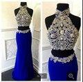 Sexy Sereia Duas Peças Vestidos de Baile De Alta Pescoço Prateada Brilhante Frisado Strass Azul Top curto Vestidos de Noite